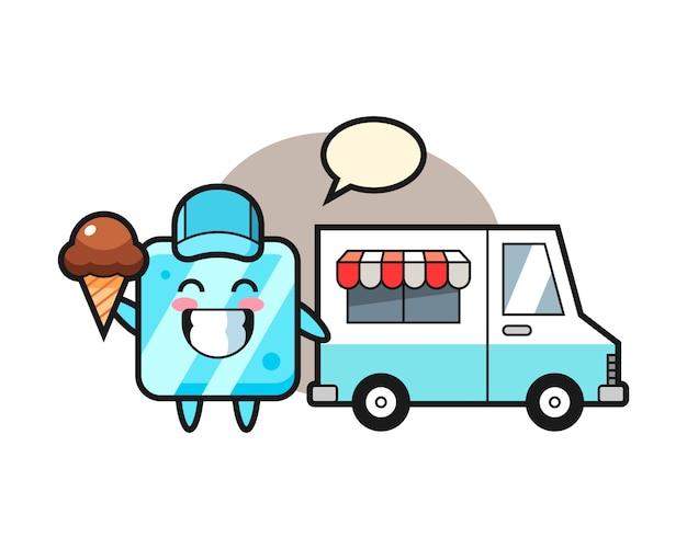 Fumetto della mascotte del cubetto di ghiaccio con camion dei gelati