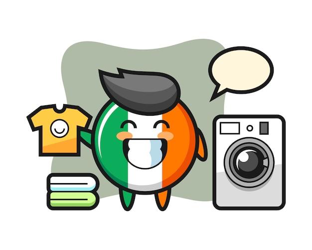 Fumetto della mascotte del distintivo della bandiera dell'irlanda con lavatrice