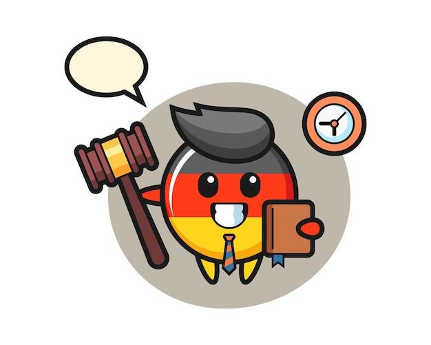 Fumetto della mascotte del distintivo della bandiera della germania come giudice