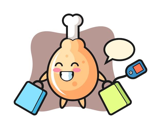 Fumetto della mascotte del pollo fritto che tiene un sacchetto della spesa