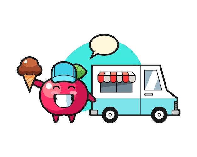 Fumetto della mascotte della mela con il camion del gelato