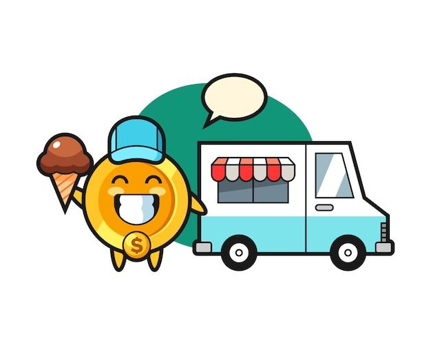 Fumetto della mascotte della moneta del dollaro con il camion dei gelati