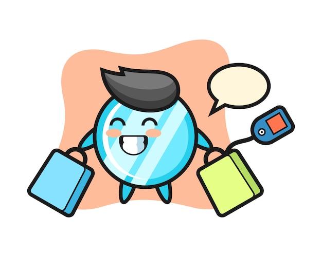 Fumetto della mascotte dello specchio che tiene un sacchetto della spesa