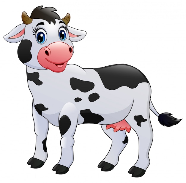 Fumetto della mucca isolato su bianco