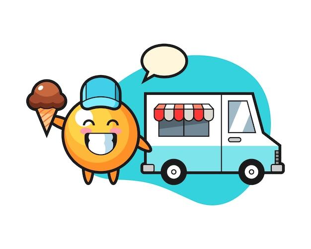 Fumetto della palla da ping-pong con il camion del gelato