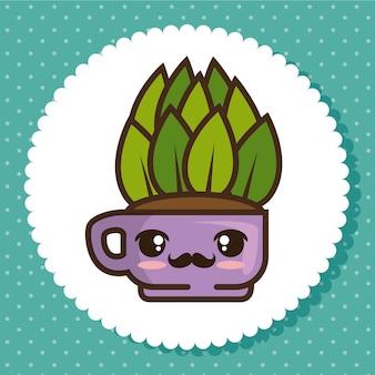 Fumetto della pianta naturale del vaso di kawaii