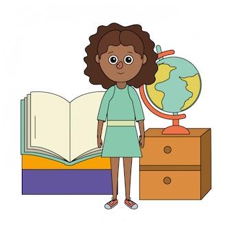 Fumetto della ragazza di istruzione scolastica