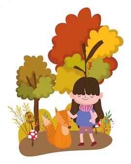 Fumetto della ragazza nella progettazione di stagione di autunno