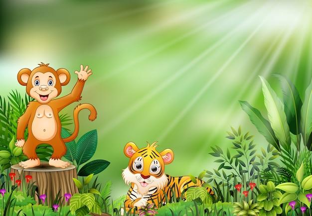Fumetto della scena della natura con una scimmia che si siede sul ceppo e sulla tigre di albero
