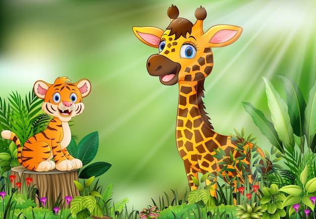 Fumetto della scena della natura con una tigre che si siede sul ceppo e sulla giraffa di albero