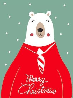 Fumetto della sciarpa dell'orso polare con il festival di natale e l'inverno della neve.