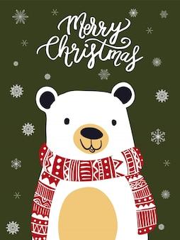 Fumetto della sciarpa dell'orso polare con il festival di natale