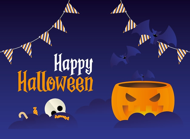Fumetto della zucca di halloween con pipistrelli e caramelle, tema spaventoso