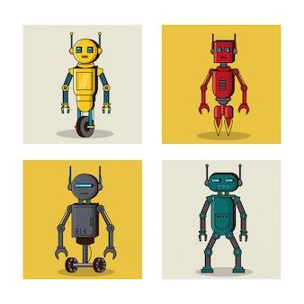 Fumetto delle icone quadrate del robot