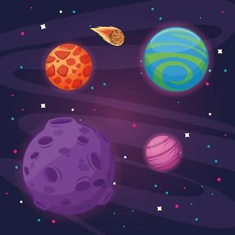 Fumetto dello scenario dello spazio di milkyway