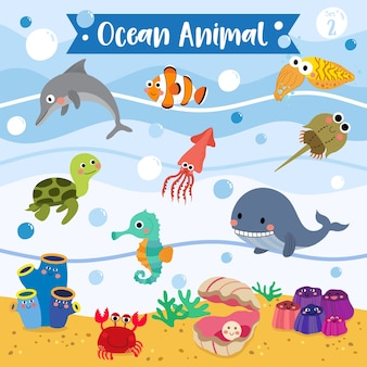 Fumetto di animali oceanici
