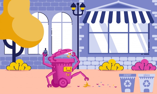 Fumetto di applicazione e attrezzature per la pulizia della città.