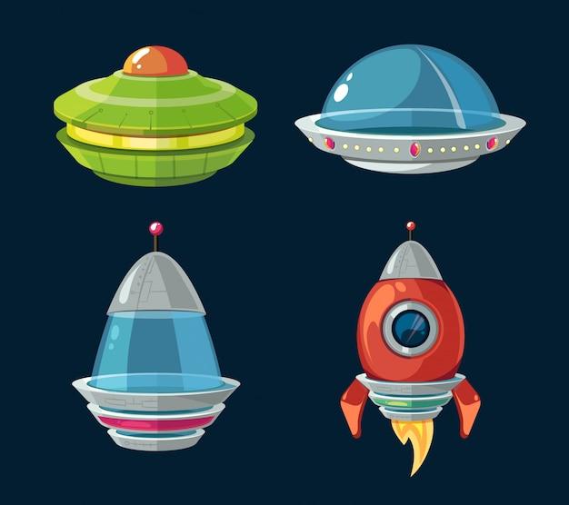 Fumetto di astronavi e astronavi impostato per computer spaziale e gioco per smartphone.