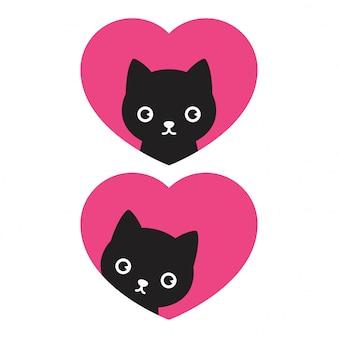 Fumetto di calico del gattino del biglietto di s. valentino del cuore di vettore del gatto
