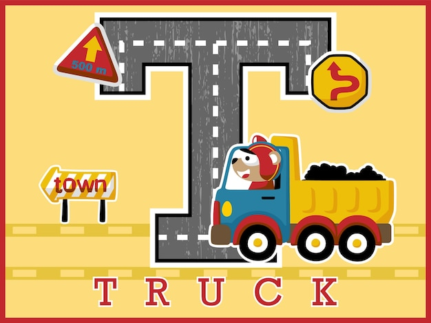 Fumetto di camion con autista carino