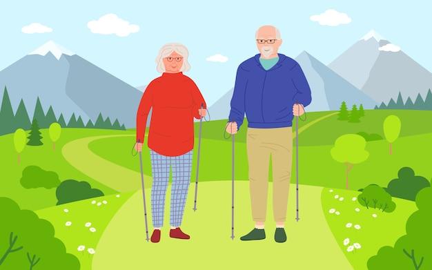 Fumetto di camminata delle donne e degli uomini anziani. persone anziane in buona salute e stile di vita attivo. attività escursionistiche all'aperto estive