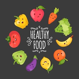 Fumetto di cibo sano che rappresenta alcune verdure divertenti