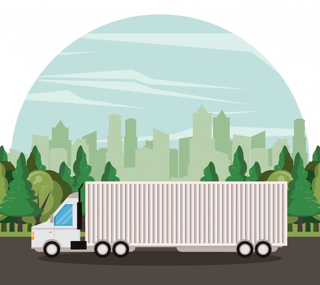 Fumetto di consegna merce mercantile camion