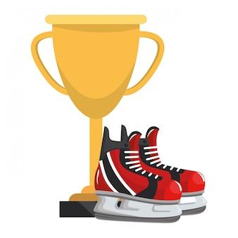 Fumetto di elementi di hockey su ghiaccio