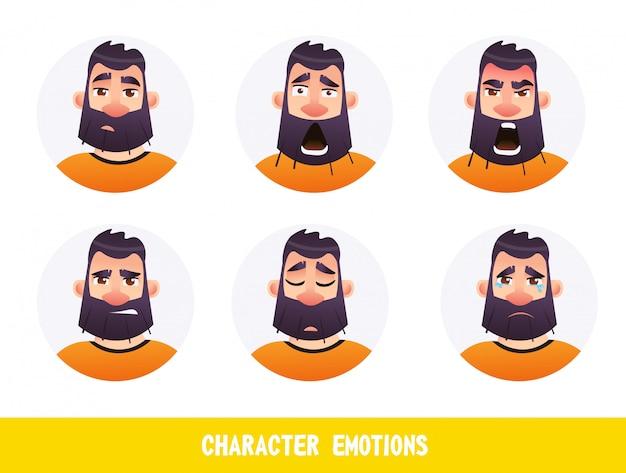 Fumetto di emozioni di carattere di iscrizione poster piatto