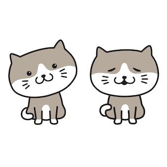 Fumetto di gatto vettoriale gattino icona logo sorriso animale domestico