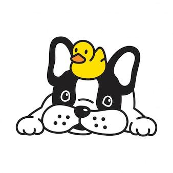 Fumetto di gomma del cucciolo dell'anatra del bulldog francese di vettore del cane
