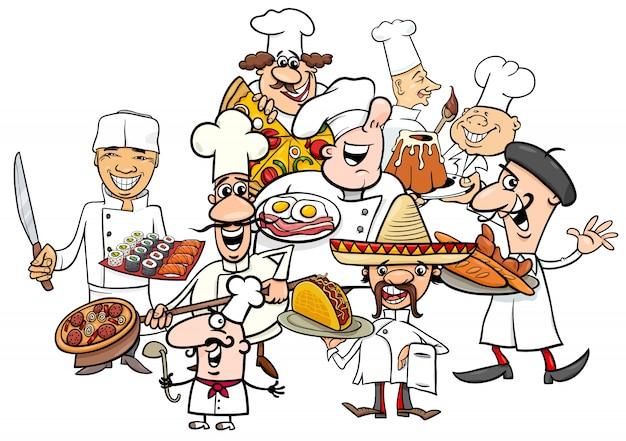 Fumetto di gruppo di chef di cucina internazionale