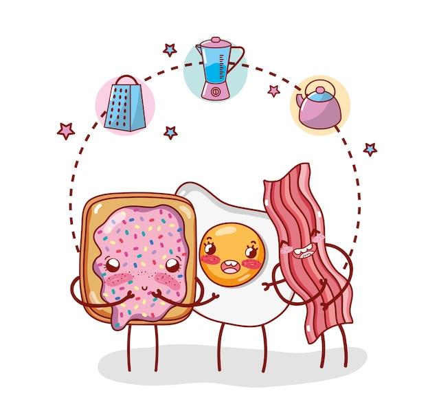 Fumetto di kawaii del fumetto degli oggetti della cucina