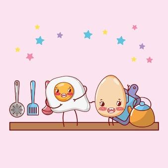 Fumetto di kawaii del fumetto della mensola della cucina