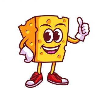 Fumetto di mascotte del formaggio logo
