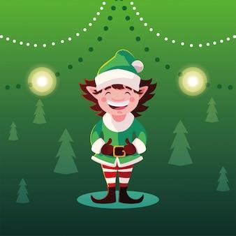 Fumetto di natale dell'elfo con il cappello