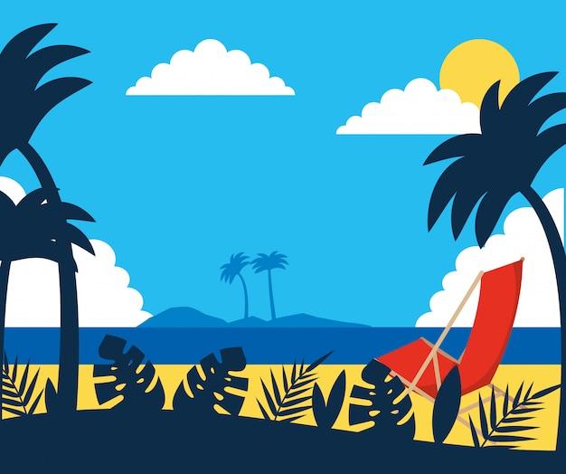 Fumetto di paesaggio estivo e spiaggia