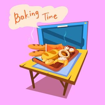 Fumetto di panetteria con piatto pieno di pane e pasticceria davanti a tv stile retrò