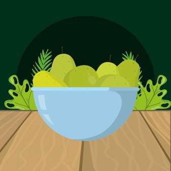 Fumetto di pere verdi di frutta fresca