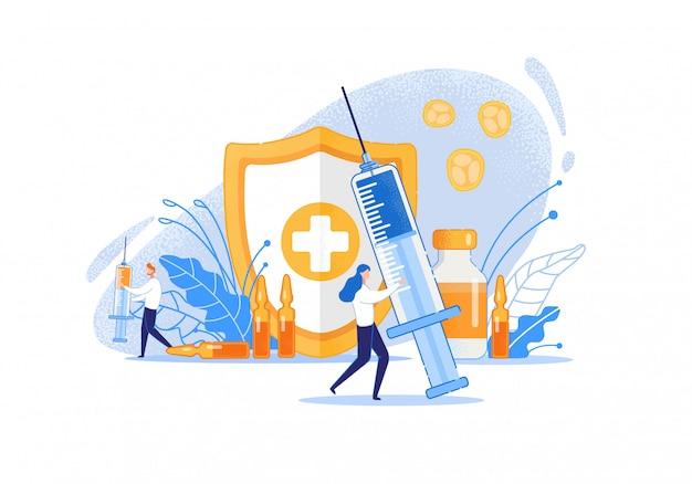 Fumetto di procedure di manipolazione della medicina.