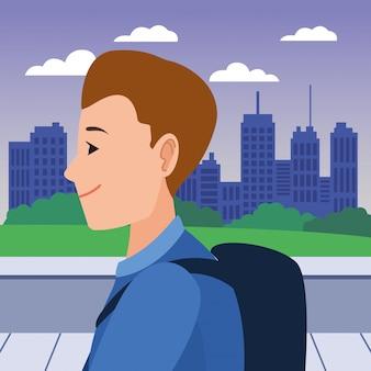 Fumetto di profilo della testa del fronte del giovane