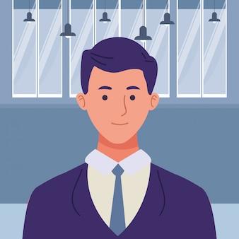 Fumetto di profilo dello smilig dell'uomo d'affari esecutivo