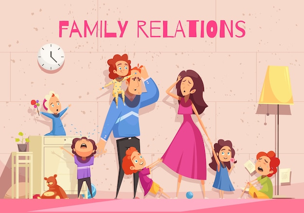 Fumetto di relazioni familiari che mostra emozione dei genitori abbattuti stanchi dell'illustrazione di vettore di rumore del bambino