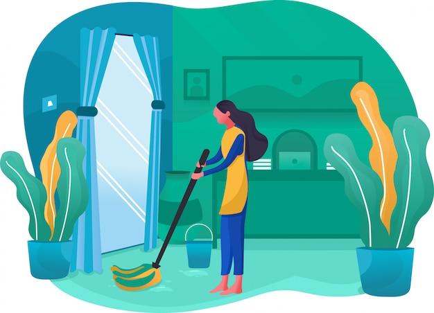 Fumetto di servizio di pulizia della casa