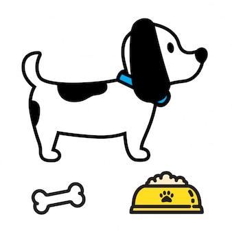 Fumetto di simbolo dell'alimento della ciotola dell'osso di logo dell'icona di vettore della zampa del cane