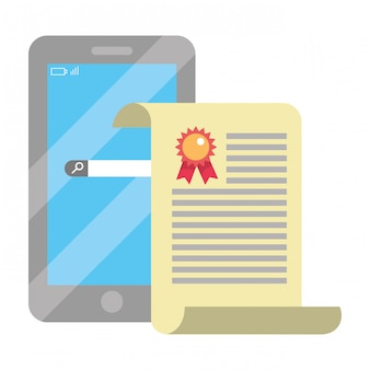 Fumetto di smartphone di formazione online