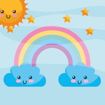 Fumetto di stelle arcobaleno nuvole kawaii