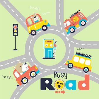 Fumetto di strada trafficata con autista divertente