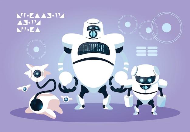 Fumetto di tecnologia robot su viola