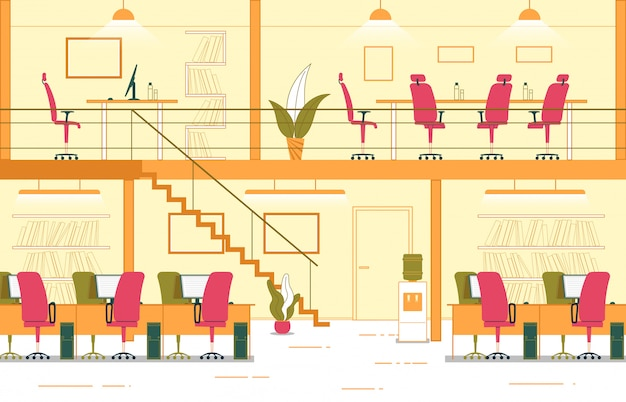 Fumetto di ufficio a due livelli interni di affari.